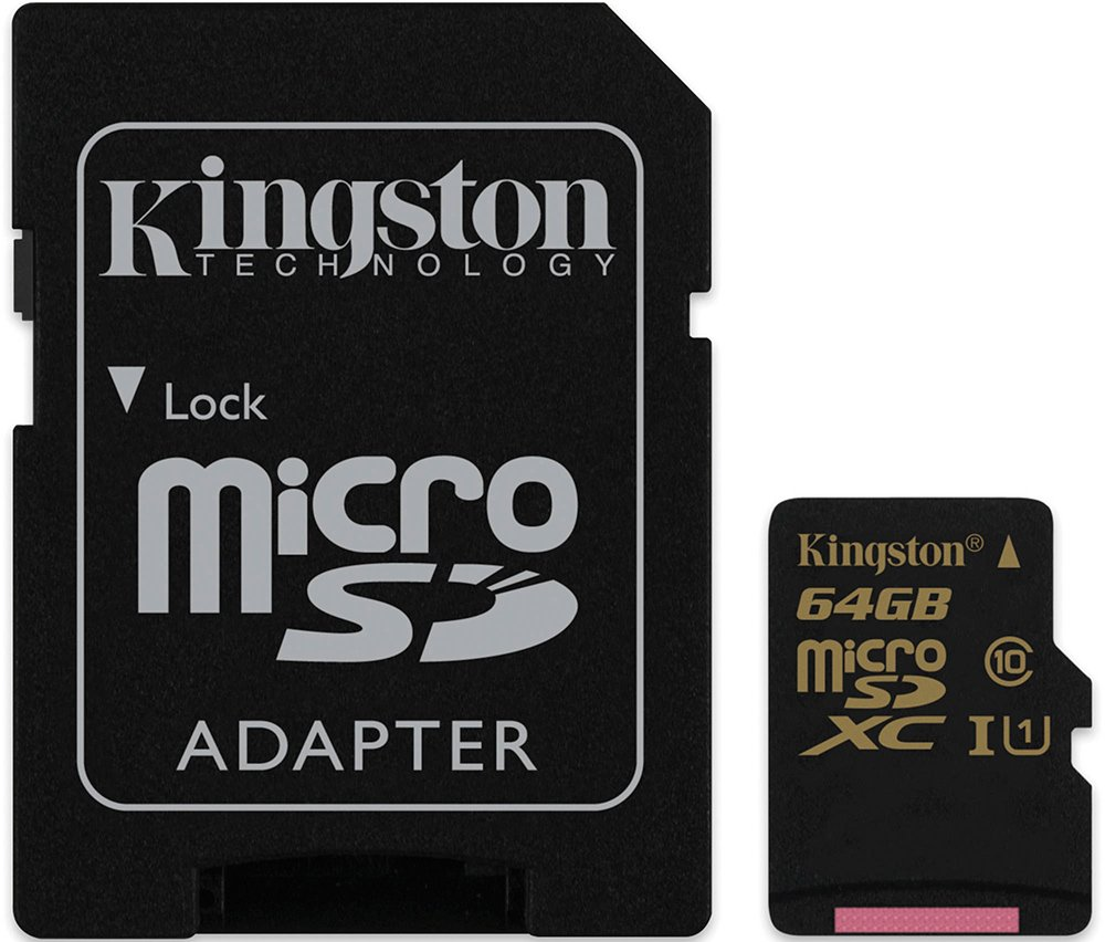 Карта памяти Kingston microSDXC 64Gb Class 10 UHS-I U1 + SD адаптер (SDCA10/64GB)