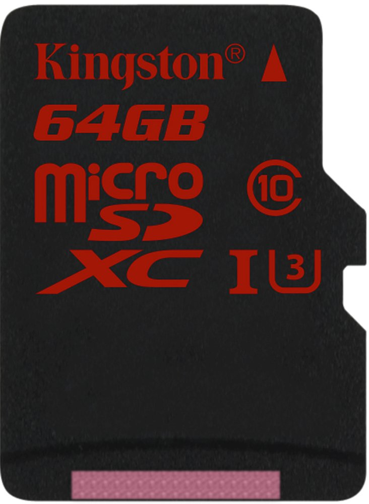 Карта памяти Kingston microSDXC 64Gb Class 10 UHS-I U3 (SDCA3/64GBSP)
