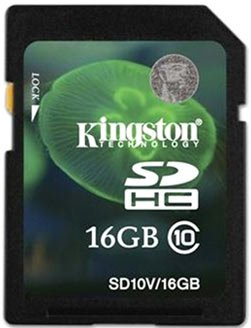 Карта памяти Kingston SDHC 16GB class 10 SD10V/16GB
