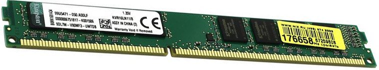 Модуль памяти Kingston ValueRAM KVR16LN11/8BK DDR3 PC3-12800 8Gb фото