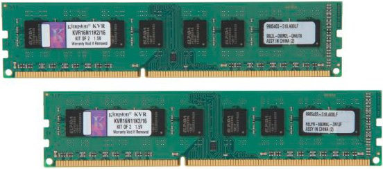 Комплект памяти Kingston ValueRAM KVR16N11K2/16 DDR3 PC3-12800 2x8 Gb фото