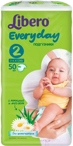 Подгузники Libero Everyday 2 Mini (3-6 кг) 50 шт