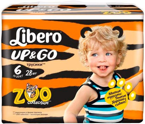 Трусики Libero Up&Go Zoo Collection 6 (13-20 кг) 28 шт