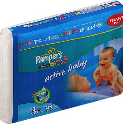 Подгузники Pampers Active Baby 3 Midi (4-9 кг) Giant Pack 96 шт