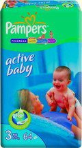 Подгузники Pampers Active Baby 3 Midi (4-9 кг) 64 шт