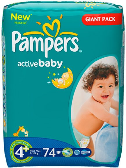 Подгузники Pampers Active Baby 4+ Maxi Plus (9-16 кг) Giant Pack 74 шт