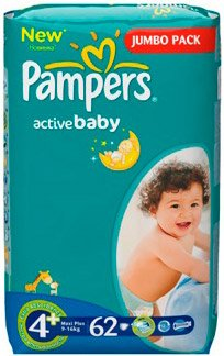 Подгузники Pampers Active Baby 4+ Maxi Plus (9-16 кг) Jumbo Pack 62 шт фото