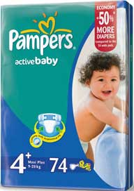 Подгузники Pampers Active Baby 4+ Maxi Plus (9-20) 74 шт
