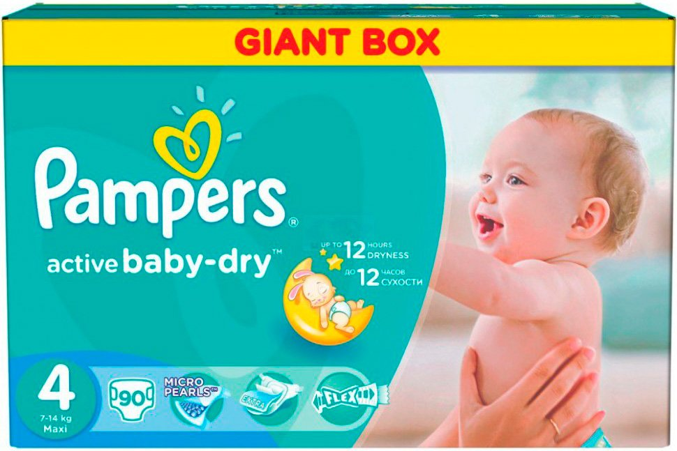 Подгузники Pampers Active Baby 4 Maxi (7-14 кг) Giant Box 90 шт