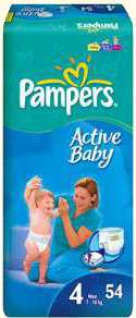 ���������� Pampers Active baby 4 Maxi (7-18 ��) 54 ��.