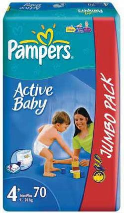 ���������� Pampers Active Baby 4 Maxi (7-18 ��) Jumbo Pack 70 ��