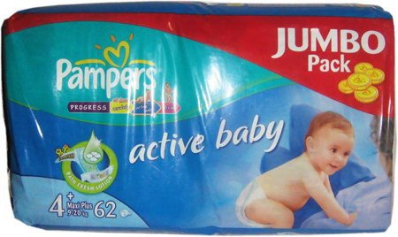 Подгузники Pampers Active Baby 4+ Maxi Pluse (9-20 кг) Jumbo Pack 62 шт