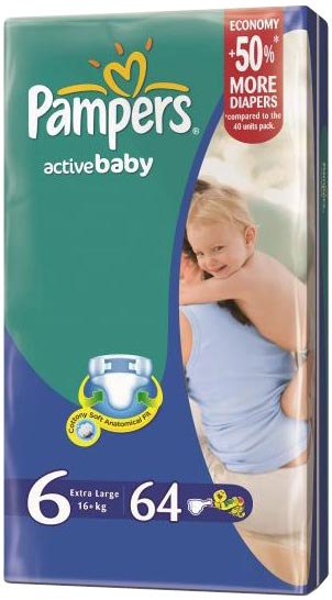Подгузники Pampers Active Baby 6 Extra Large (16+ кг) 64шт
