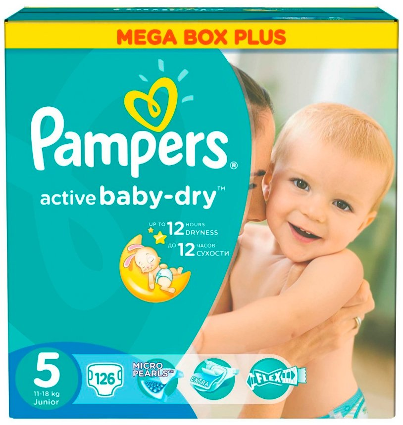 Подгузники Pampers Active Baby-Dry 5 Junior (11-18 кг) 126 шт