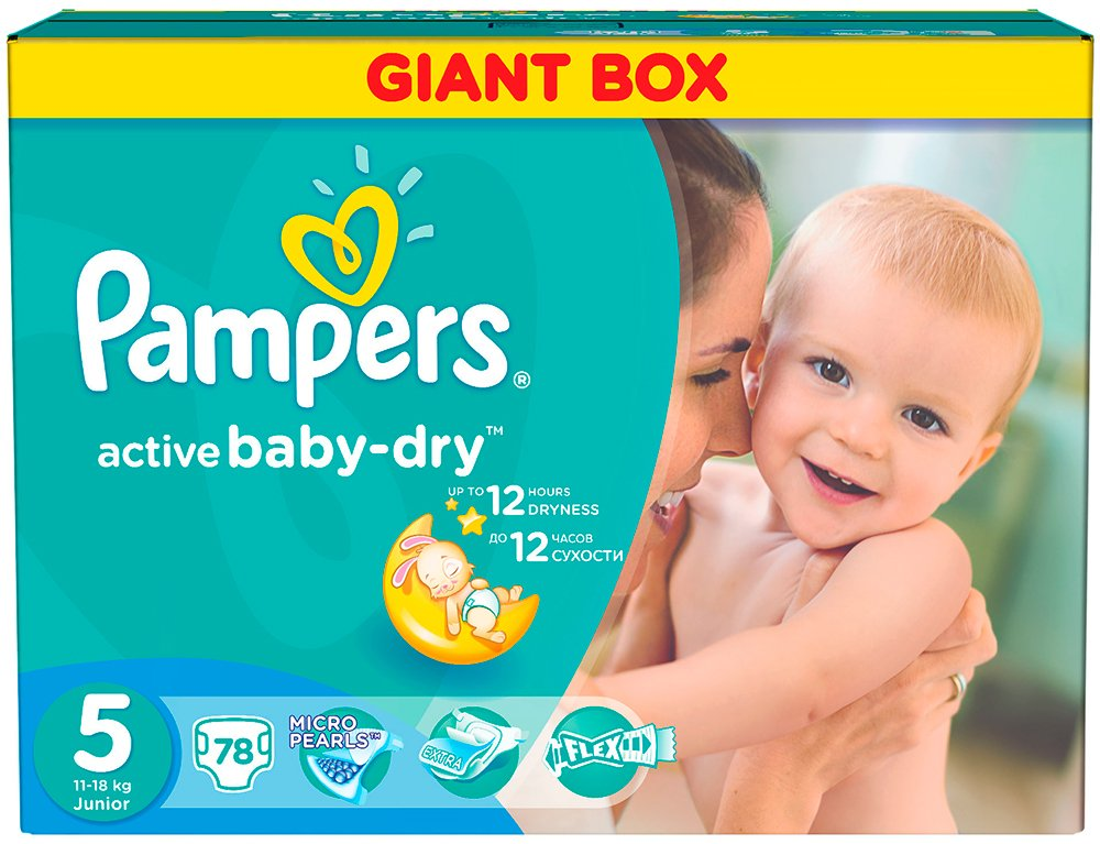 Подгузники Pampers Active Baby-Dry 5 Junior (11-18 кг) 78 шт