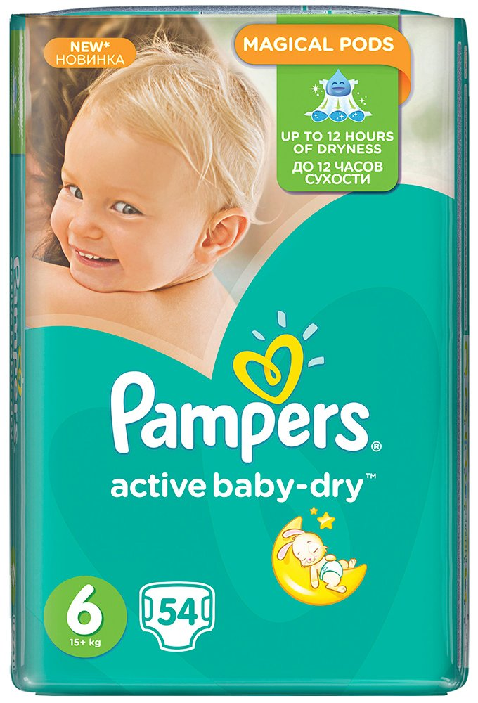 Подгузники Pampers Active Baby-Dry 6 Extra Large (15+ кг) 54 шт