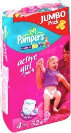 Трусики Pampers Active Girl 4 Maxi (9-14 кг) Jumbo Pack 52 шт