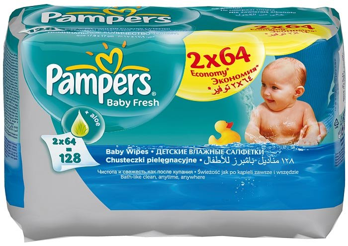 ������� �������� Pampers Baby Fresh ������� ���� Duo, 2x64 ��