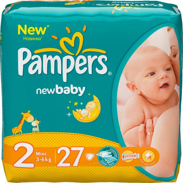 Подгузники Pampers New Baby 2 Mini (3-6 кг) 27 шт