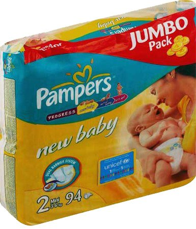 Подгузники Pampers New Baby 2 Mini (3-6 кг) Jumbo Pack 94 шт