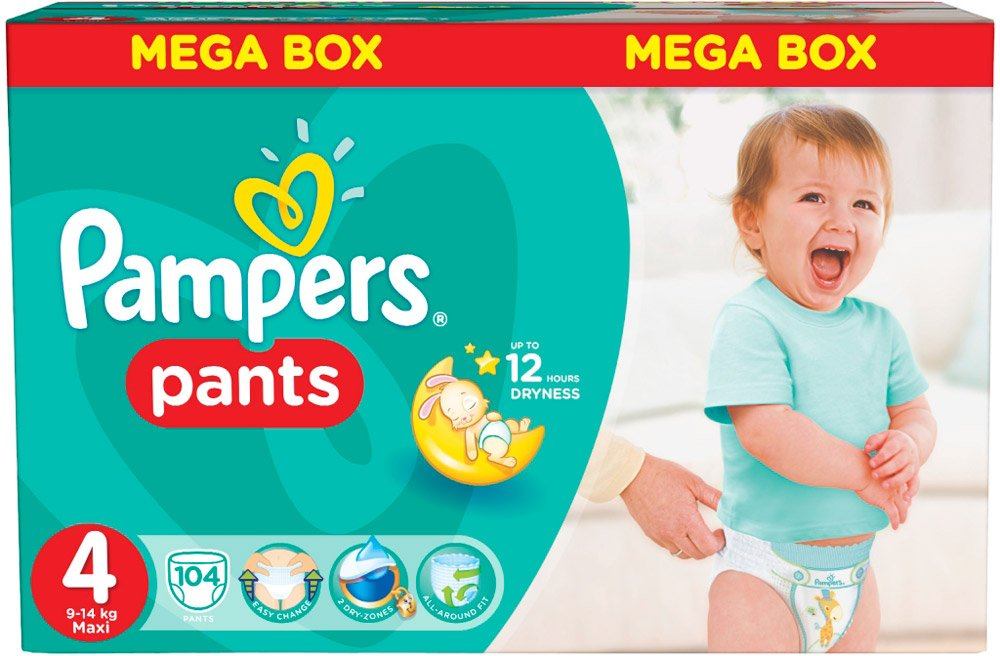 Трусики Pampers Pants 4 Maxi (9-14 кг) 104 шт фото