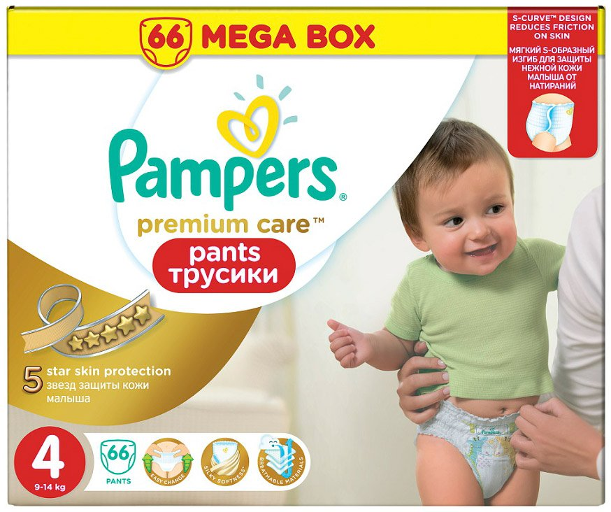 Трусики Pampers Premium Care Pants 4 Maxi (9-14 кг) 66 шт