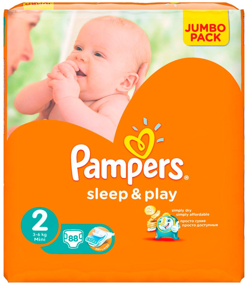 Подгузники Pampers Sleep & Play 2 Mini (3-6 кг) 88 шт