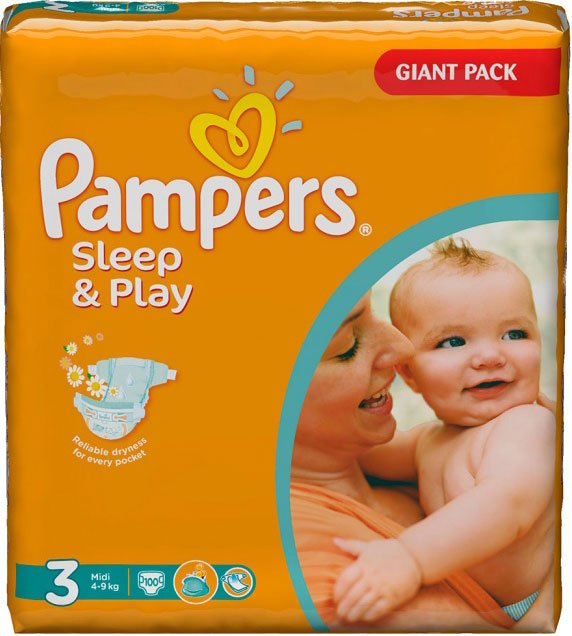 Подгузники Pampers Sleep & Play 3 Midi (4-9 кг) Giant 100 шт