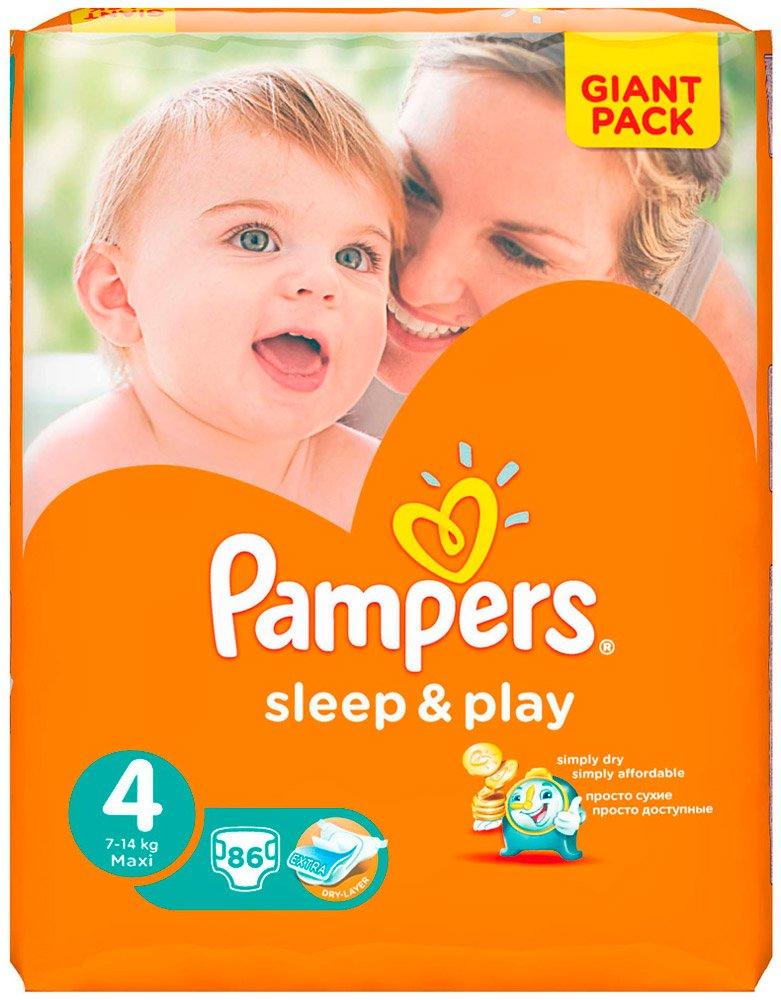 Подгузники Pampers Sleep & Play 4 Maxi (7-14 кг) 86 шт фото