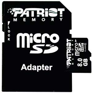 Карта памяти Patriot MicroSDHC 8Gb Class 10 + SD adapter (PSF8GMCSDHC10)