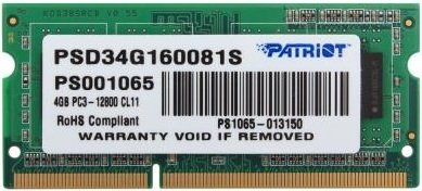 Модуль памяти Patriot Signature Line PSD34G160081S DDR3 PC3-12800 4Gb  фото