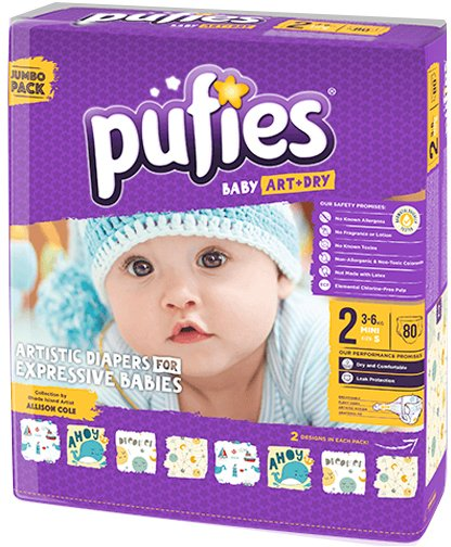 Подгузники Pufies Baby Art&Dry Mini 2 (3-6 кг) 80 шт