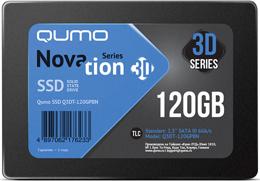 Жесткий диск SSD Qumo Novation 3D TLC (Q3DT-120GPBN) 120Gb фото