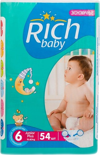 Подгузники Rich Baby Junior Plus 6 (54шт) фото