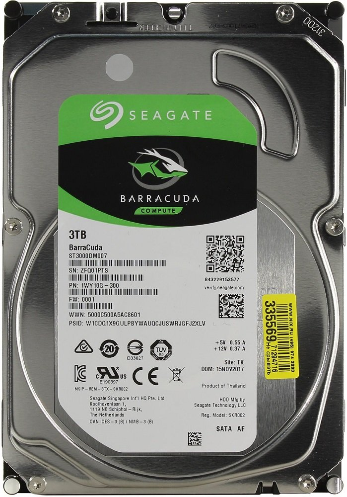 Жесткий диск Seagate Barracuda (ST3000DM007) 3000Gb