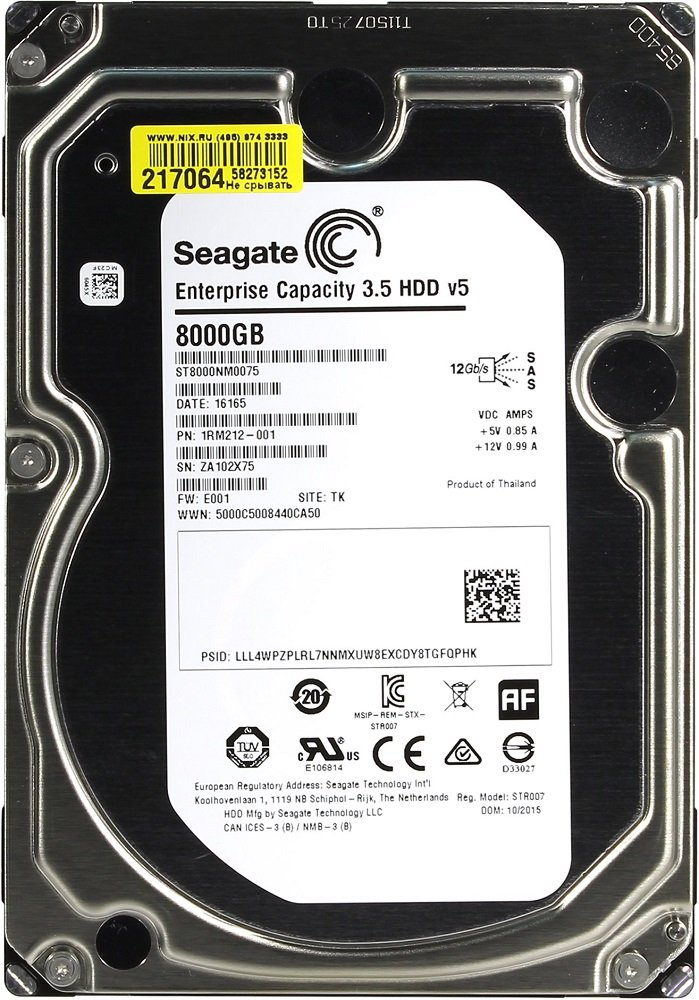 Жесткий диск Seagate Enterprise Capacity (ST8000NM0075) 8000Gb