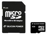 Карта памяти Silicon Power Micro SDHC Class4 4 GB