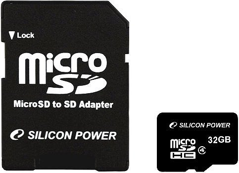 Карта памяти Silicon Power MicroSDHC 32GB Class 4+ SD Adapter (SP032GBSTH004V10-SP)