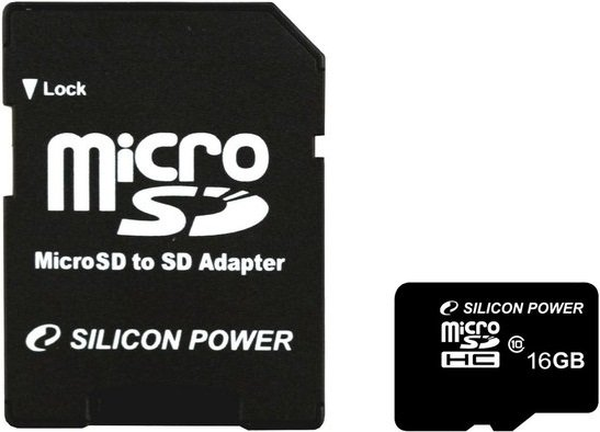 Карта памяти Silicon Power microSDHC Class 10 16GB (SP016GBSTH010V10-SP) + SD adapter
