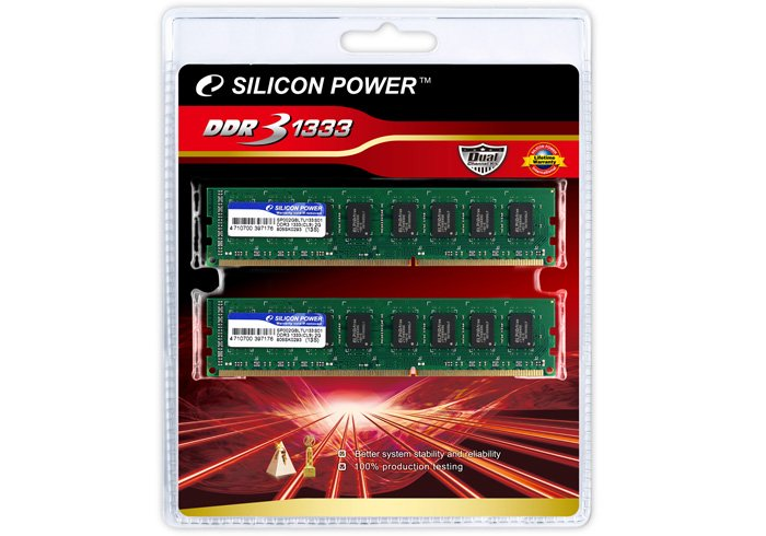 Модуль памяти Silicon Power SP002GBLTU133S21 DDR3 PC10600 2x1Gb