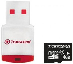 Карта памяти Transcend MicroSDHC Card 4GB Class 6 with Card Reader TS4GUSDHC6-P3