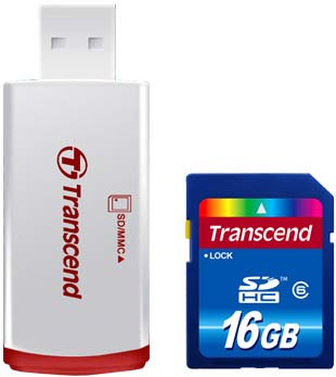 Карта памяти Transcend SDHC Class 6 Card 16GB with USB Card Reader TS16GSDHC6-P2