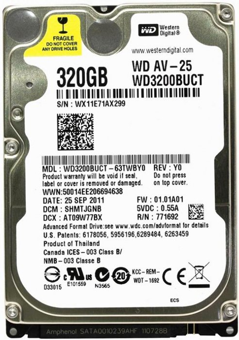 Жесткий диск Western Digital AV-25 (WD3200BUCT) 320 Gb