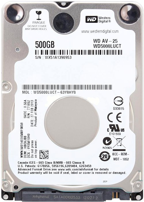 Жесткий диск Western Digital AV-25 (WD5000LUCT) 500 Gb