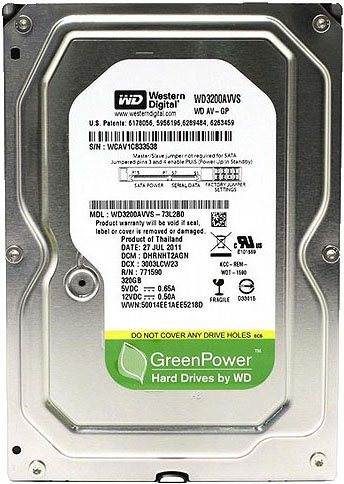 Жесткий диск Western Digital AV-GP (WD3200AVVS) 320 Gb фото