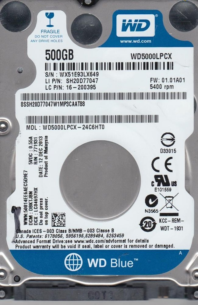 Жесткий диск Western Digital Blue (WD5000LPCX) 500 Gb