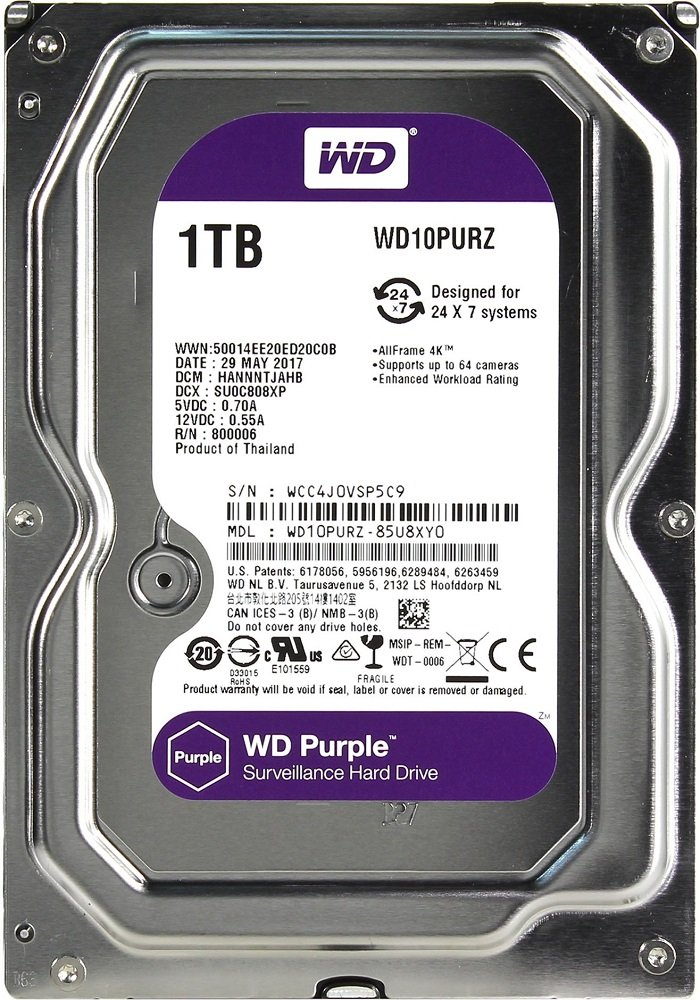 Жесткий диск Western Digital Purple (WD10PURZ) 1000 Gb фото