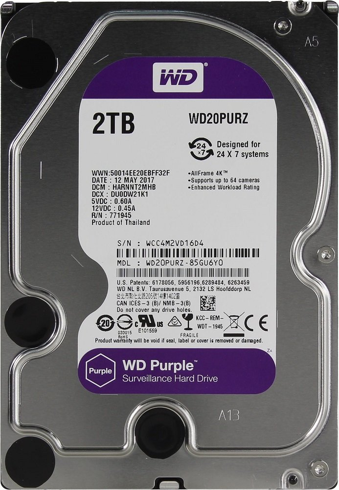 Жесткий диск Western Digital Purple (WD20PURZ) 2000 Gb