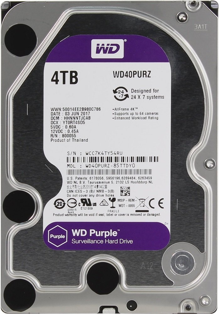 Жесткий диск Western Digital Purple (WD40PURZ) 4000 Gb фото