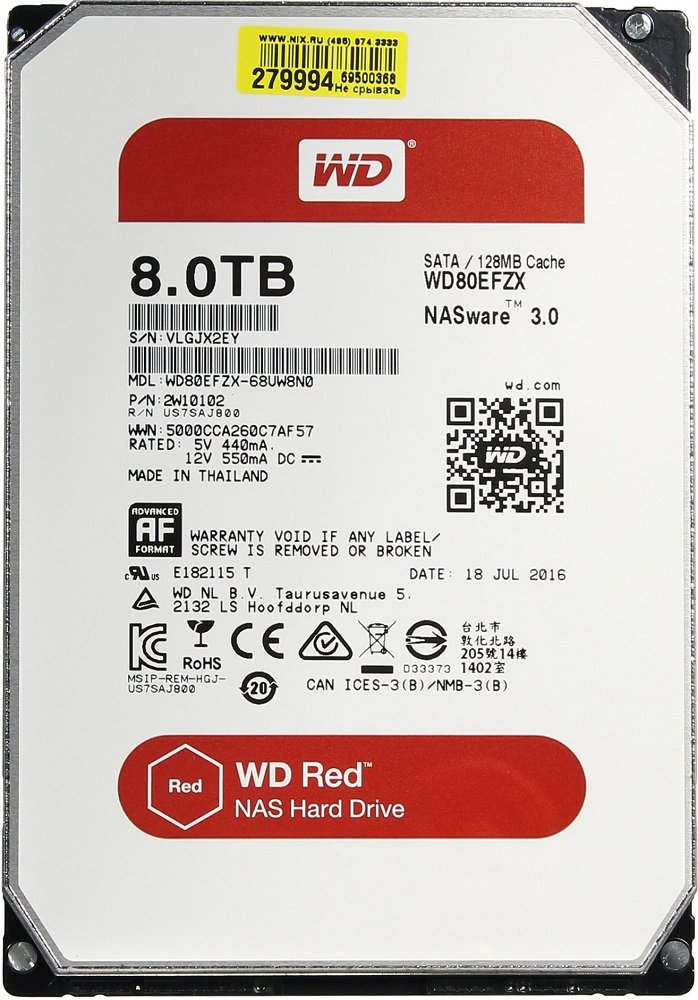Жесткий диск Western Digital Red (WD80EFZX) 8000 Gb